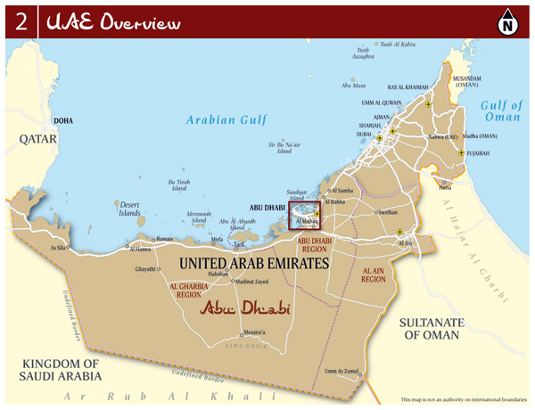 Large detailed overview map of UAE with roads, cities and airports.