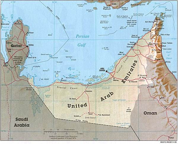 Large detailed road and political map of United Arab Emirates.