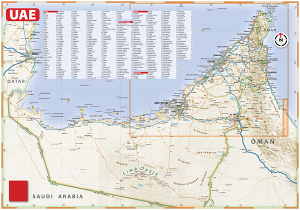 Large detailed roads map of UAE with relief and all cities.