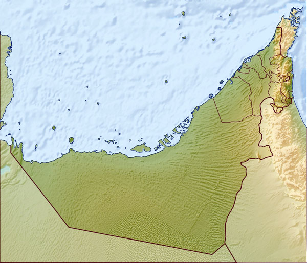 Large relief map of UAE. United Arab Emirates large relief map.