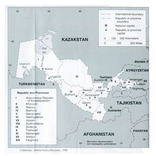 Detailed administrative map of Uzbekistan. Uzbekistan detailed administrative map.
