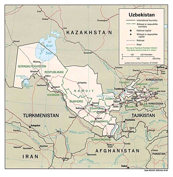 Large detailed administrative and political map of Uzbekistan.