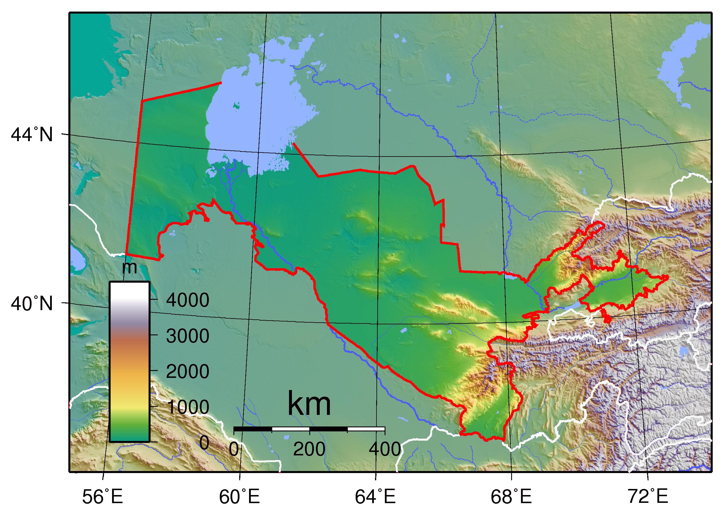 Large detailed physical map of Uzbekistan. Uzbekistan large ...