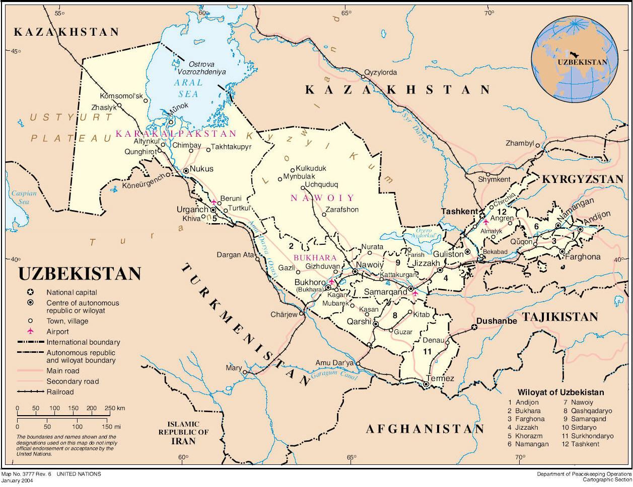 Large detailed road and administrative map of Uzbekistan Uzbekistan large ro