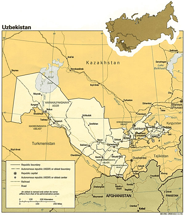 Large detailed road and political map of Uzbekistan. Uzbekistan large detailed road and political map.