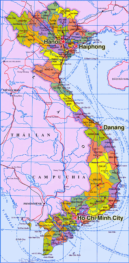 Detailed administarative map of Vietnam.