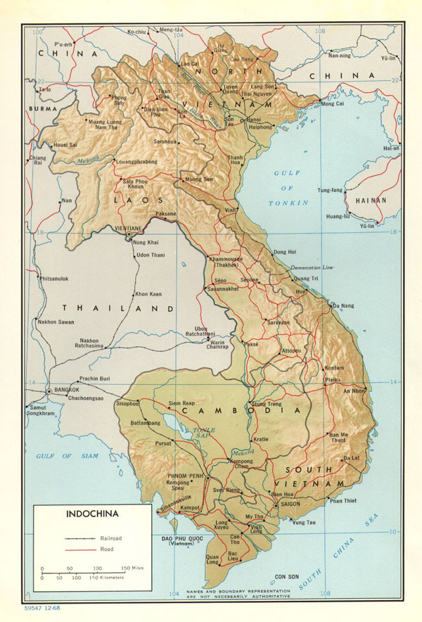 Detailed political map of Indochina. Indochina detailed political map.