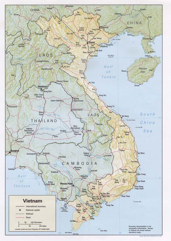 Detailed road and relief map of Vietnam. Vietnam detailed road and relief map.