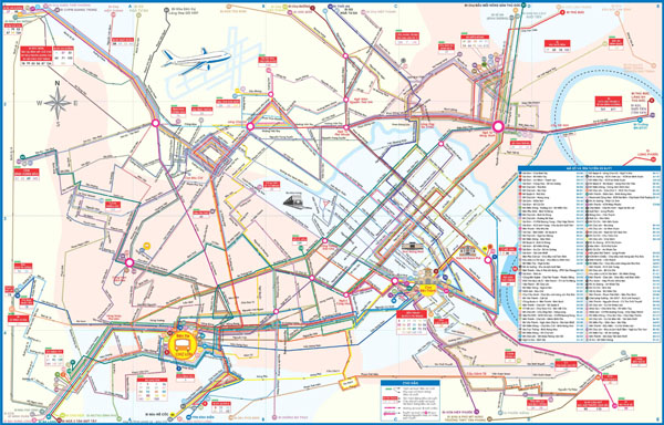 Large detailed city bus map of Ho Chi Minh city.