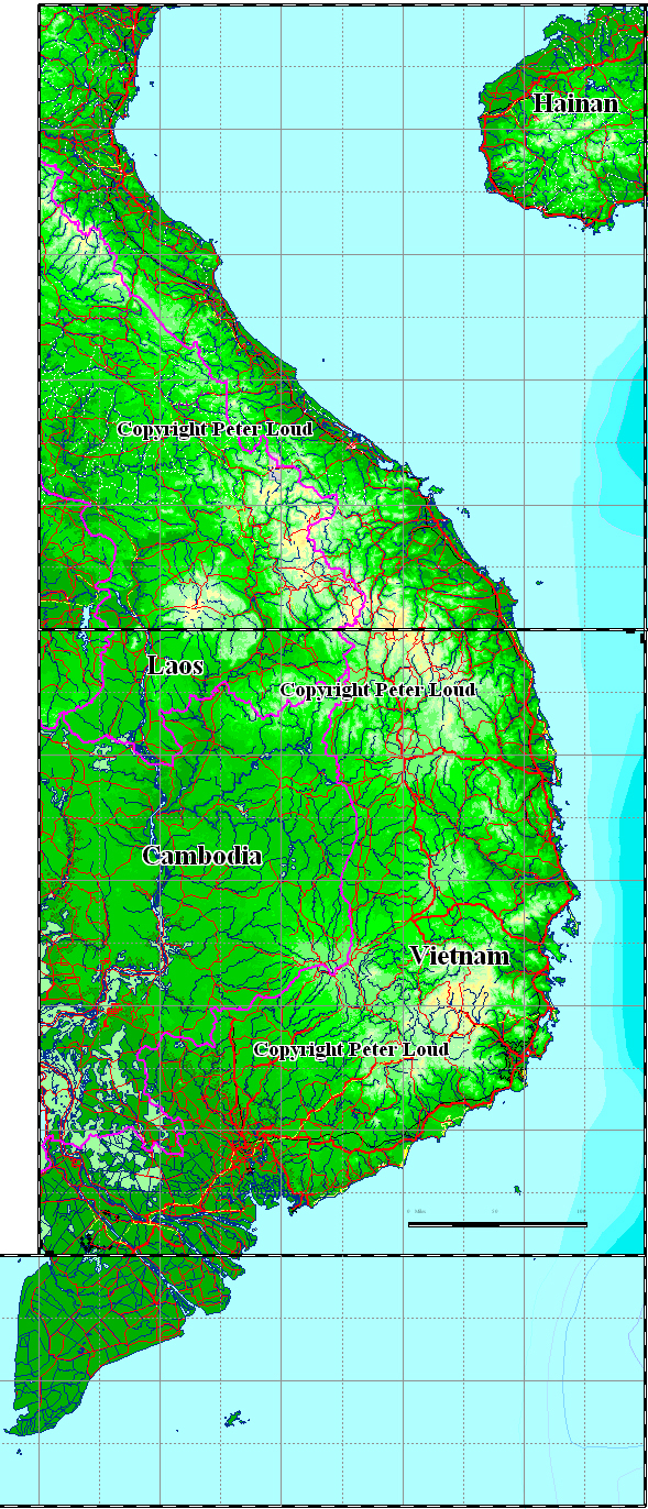 Large topographical map of Vietnam. Vietnam large topographical map.