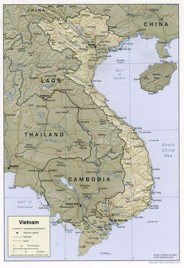 Political and relief map of Vietnam. Vietnam political and relief map.