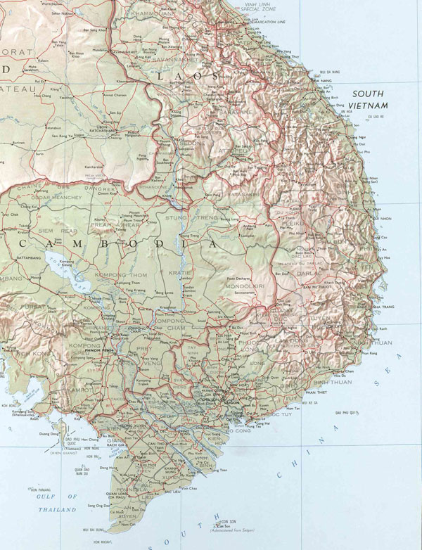 Topographical map of Indochina. Indochina topographical map.