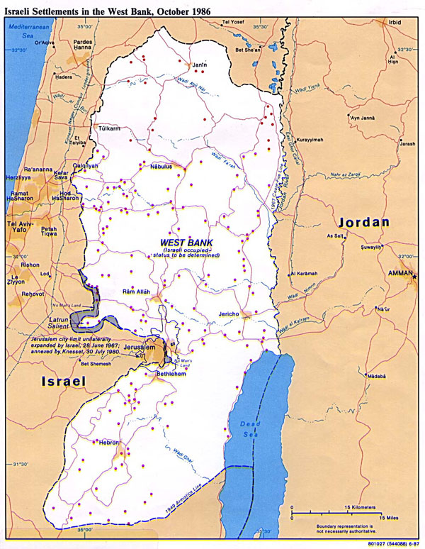 Detailed political map of West Bank. West Bank detailed political map.