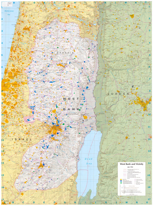 Large detailed road map of West Bank. West Bank large detailed road map.