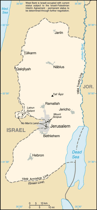 Map of West Bank cities. West Bank cities map.