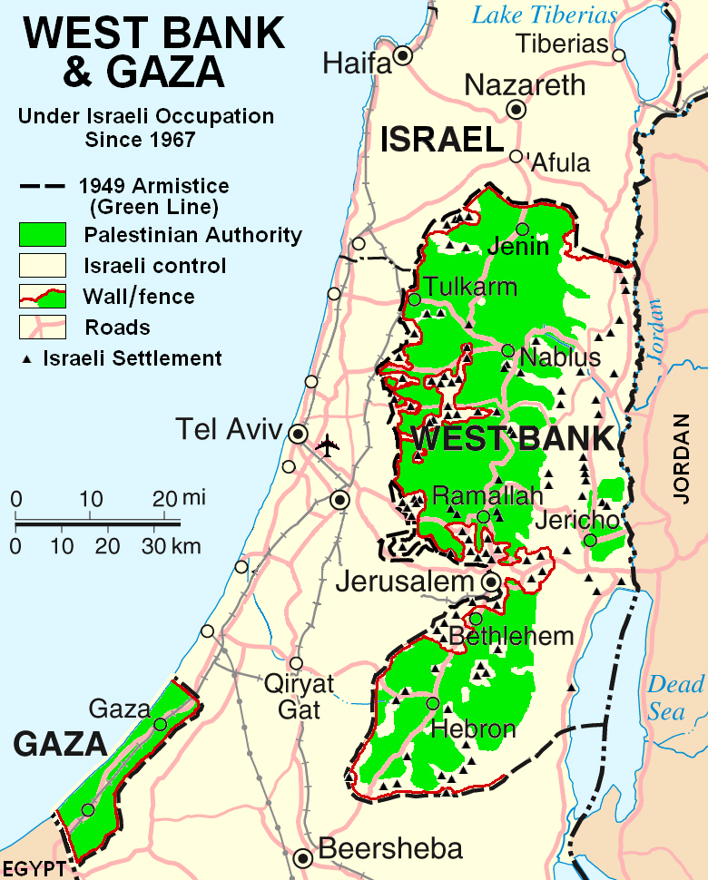 Road map of West Bank West Bank road map Vidiani – Road Map Definition
