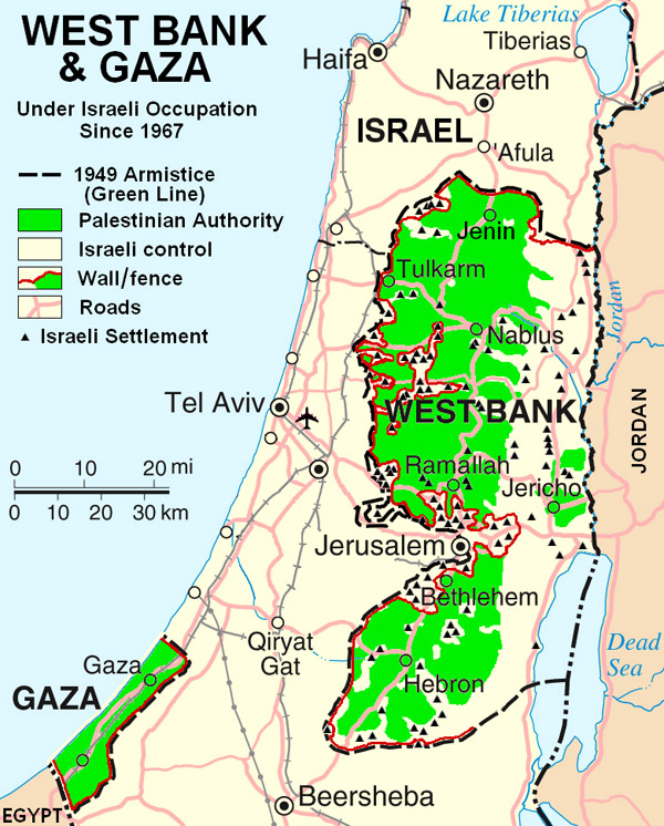 Road map of West Bank. West Bank road map.