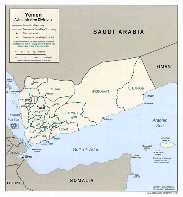 Detailed administrative divisions map of Yemen - 2002.