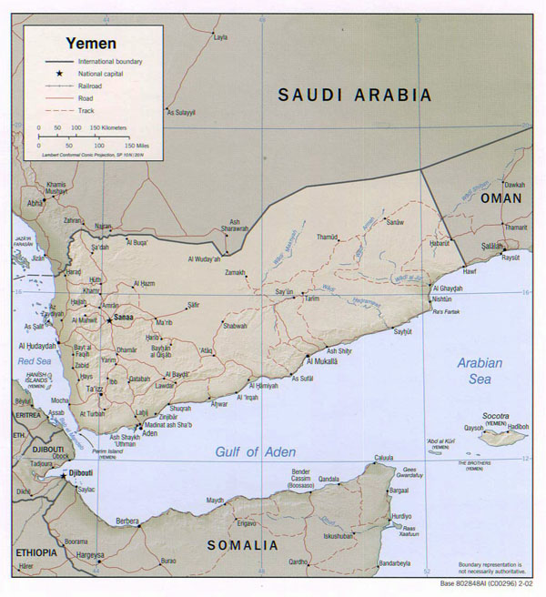 Detailed political map of Yemen with relief, roads and cities - 2002.