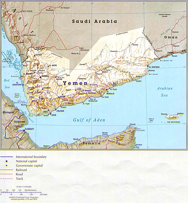 Detailed relief and political map of Yemen.