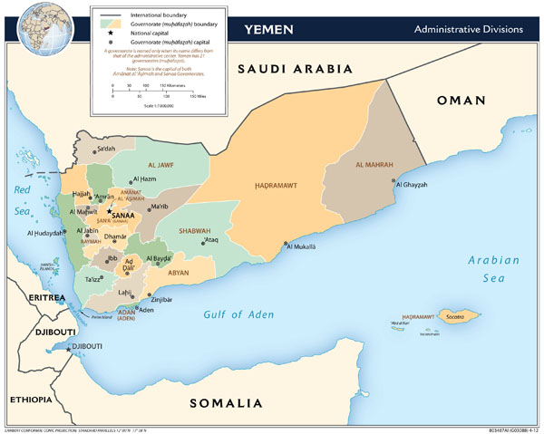 Large detailed administrative divisions map of Yemen - 2012.