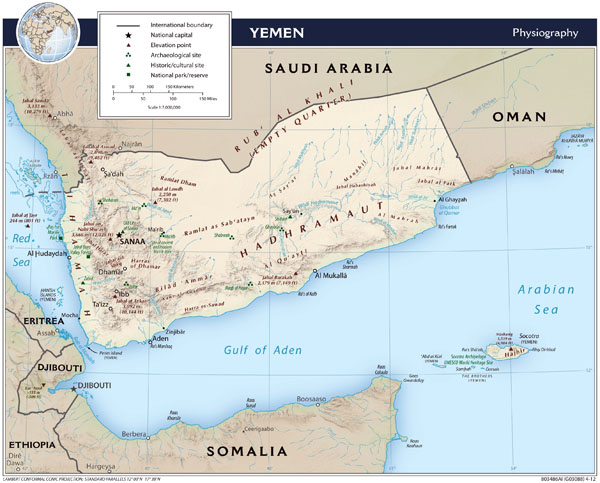Large detailed physiography map of Yemen - 2012.