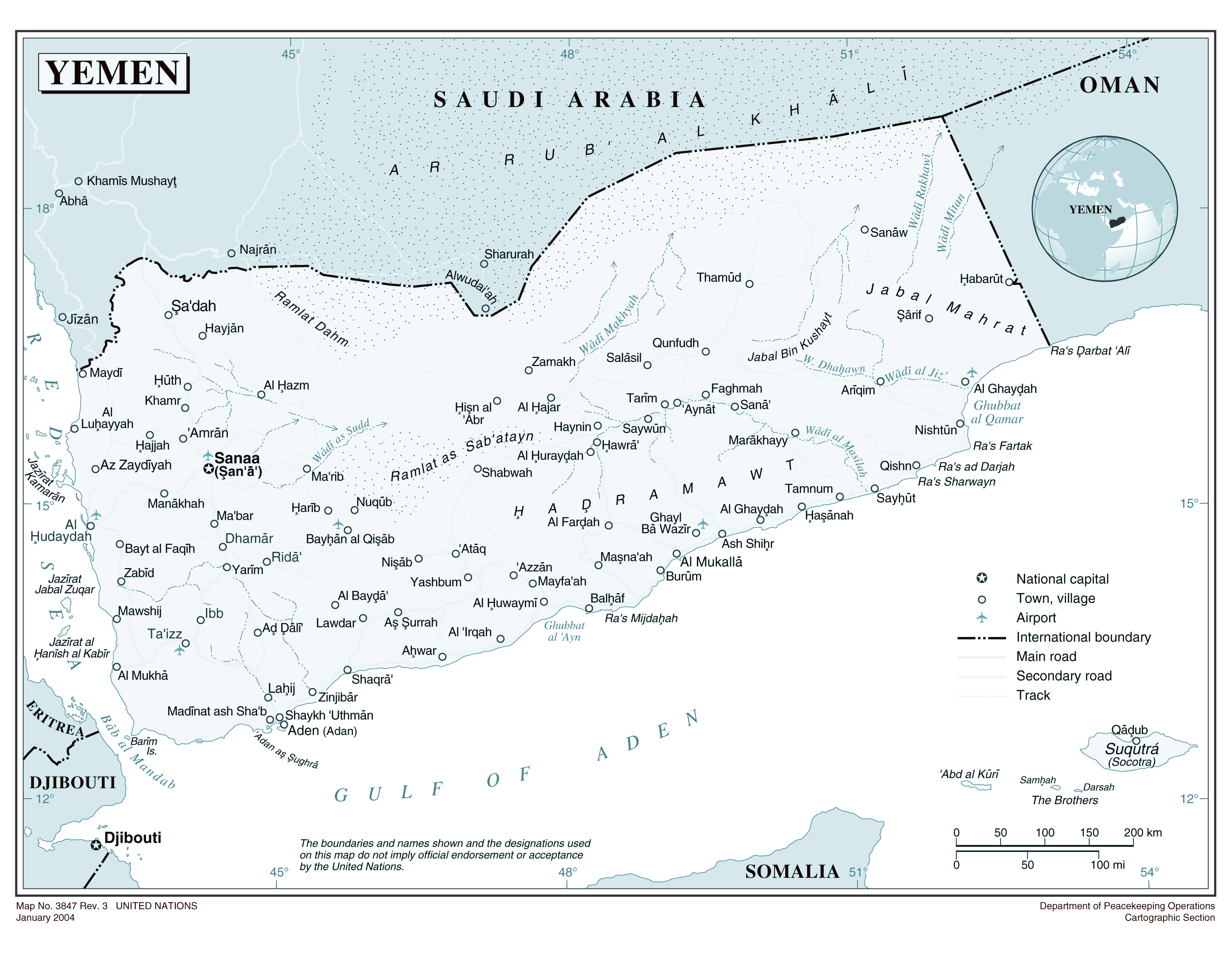 Large detailed political map of Yemen with cities and airports