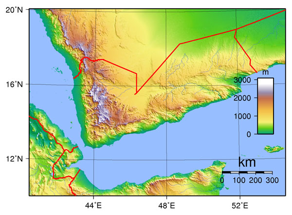 Large detailed topographical map of Yemen. Yemen large detailed topographical map.