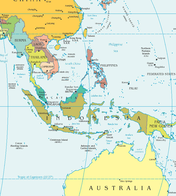 Southeast Asia detailed political map.