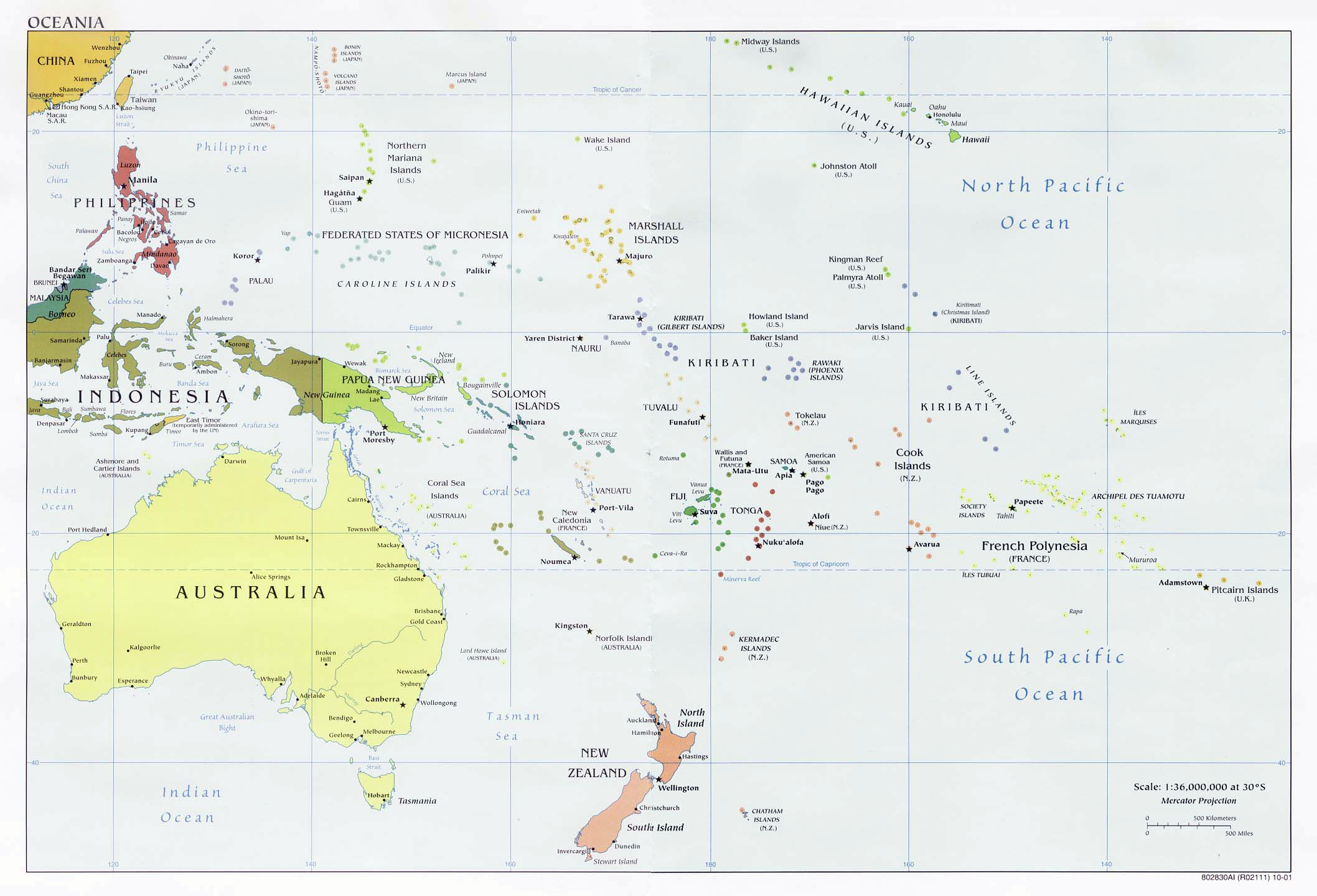 Australia and Oceania detailed political map Detailed political map of Austr