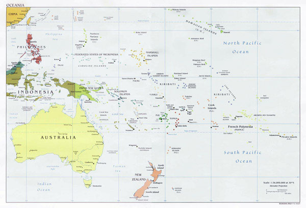 Australia and Oceania detailed political map.