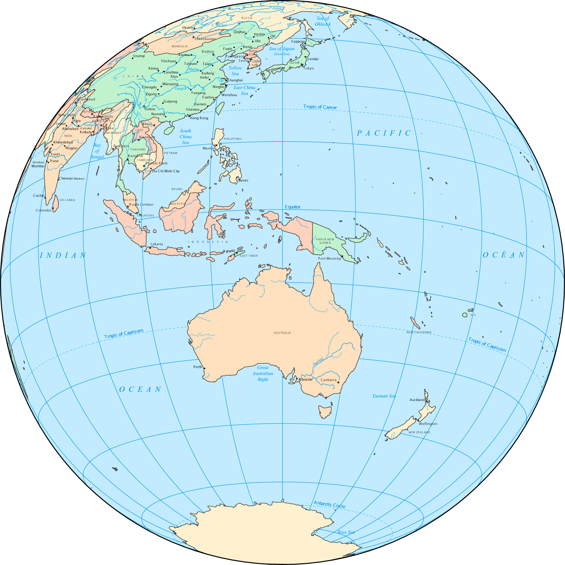 Australia Location Map.Large Detailed Location Map Of Australia And Oceania Australia And