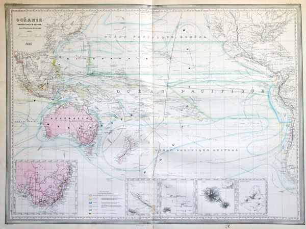 Large detailed old map of Australia and Oceania 1863.