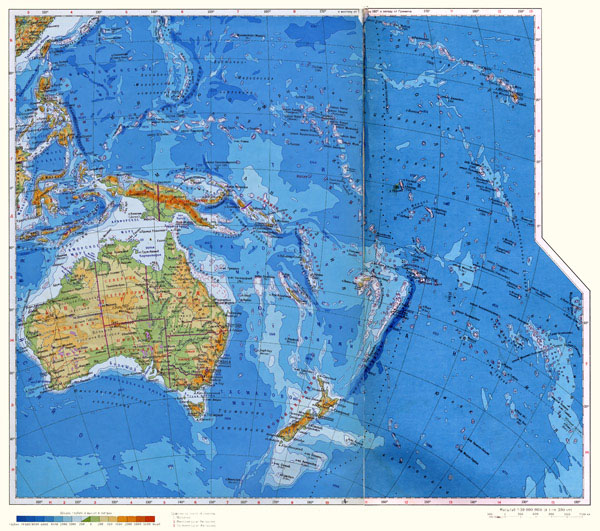 Large detailed physical map of Australia and Oceania in Russian.