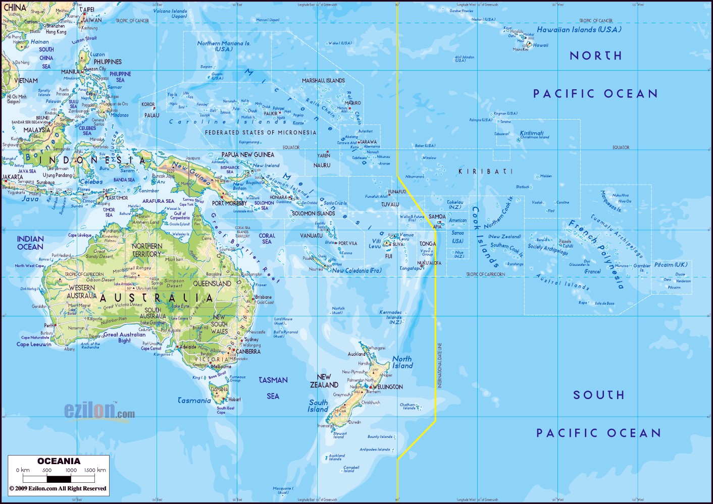 large detailed physical map of australia and oceania with roads and cities
