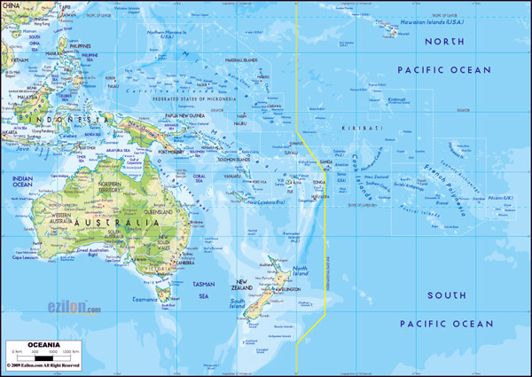 Large detailed physical map of Australia and Oceania with roads and cities.