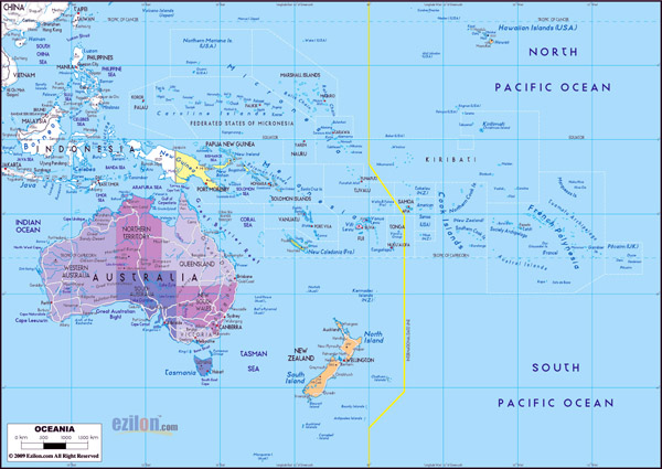 Large detailed political and administrative map of Australia and Oceania with cities and highways.