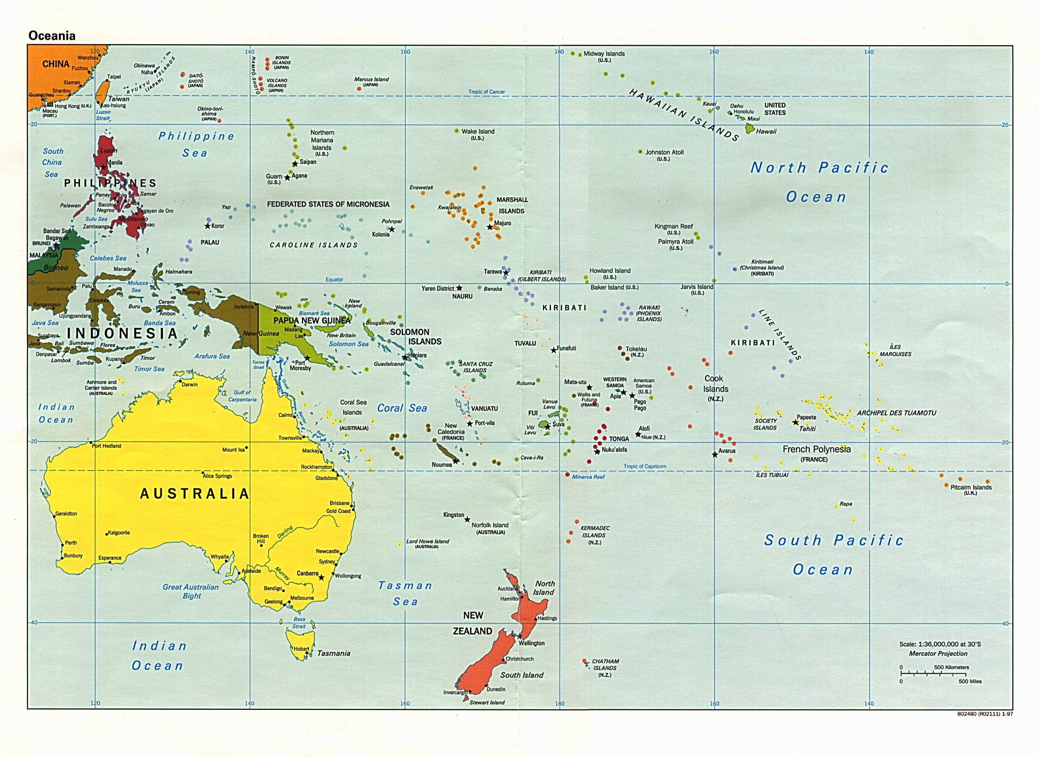 Large detailed political map of Australia and Oceania Australia and Oceania