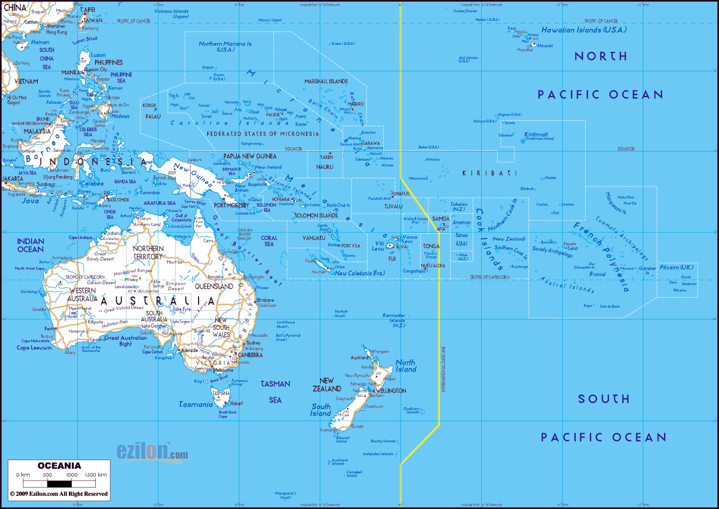 Australia Countries And Capitals Map.Large Detailed Roads Map Of Australia And Oceania With All