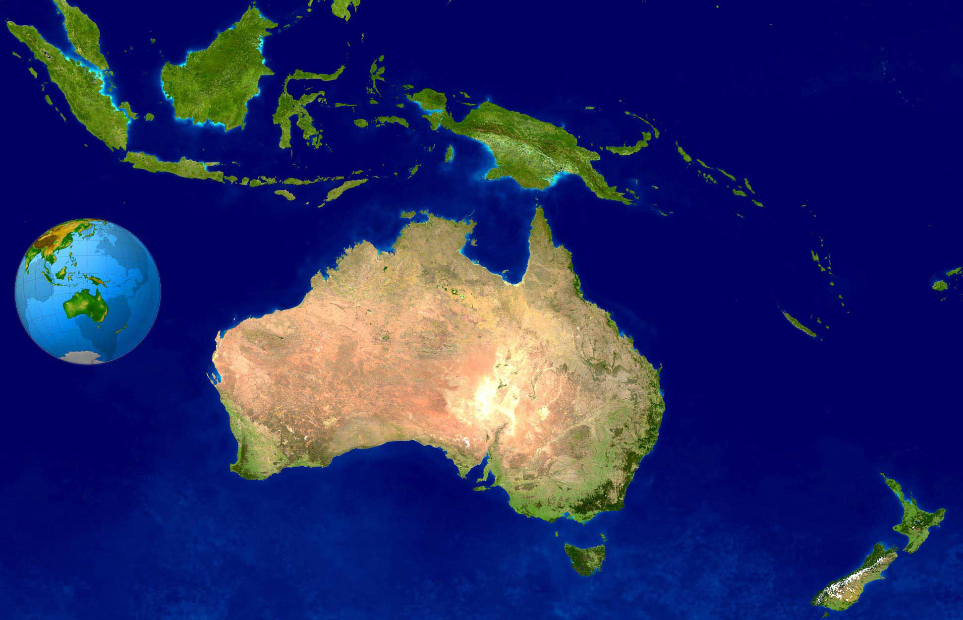 Large detailed satellite map of Australia and Oceania Australia and Oceania