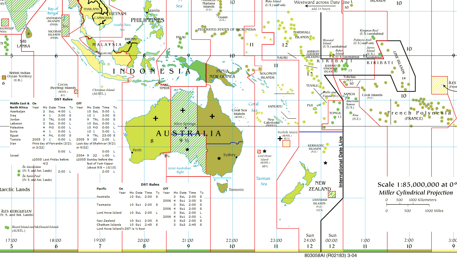Large detailed time zones map of Australia and Oceania | Vidiani