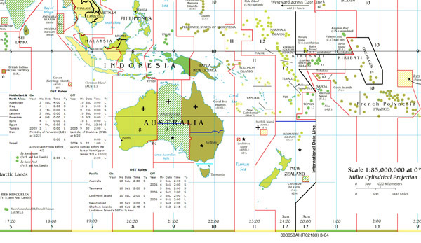 Large detailed time zones map of Australia and Oceania.