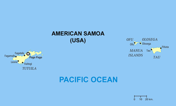 Full political map of American Samoa. American Samoa full political map.