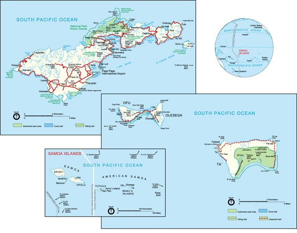 Large detailed political map of American Samoa with cities and roads.