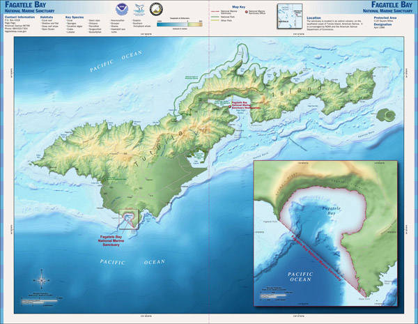 Large detailed relief map of Tutuila Island American Samoa.
