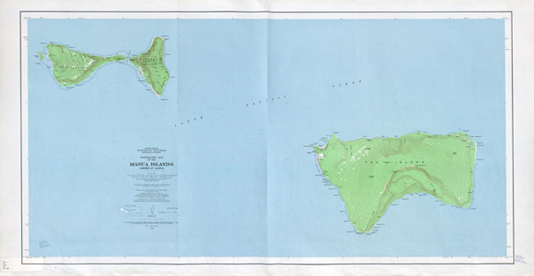 Large detailed topographical map of Manua Islands American Samoa.