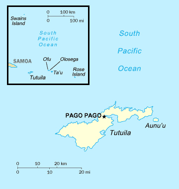 Map of American Samoa. American Samoa map.