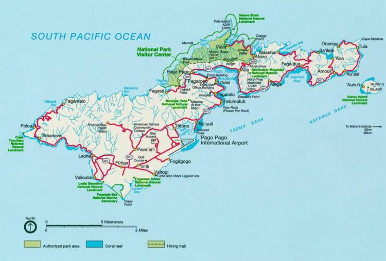 Road and relief map of Tutuila Island American Samoa Tutuila Island