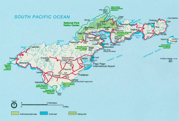 Road and relief map of Tutuila Island American Samoa.