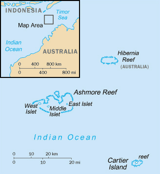 Political map of Ashmore and Cartier islands. Ashmore and Cartier islands political map.